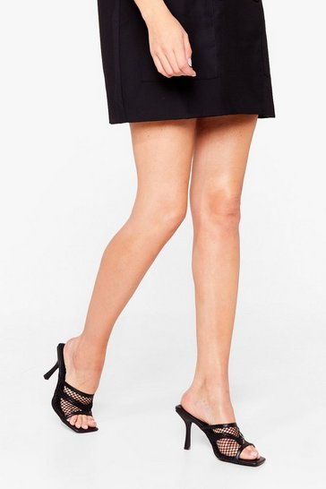Black Mesh Make a Move Stiletto Square Toe Mules