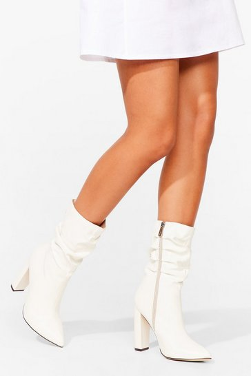 White Slouchy Faux Leather Heeled Boots
