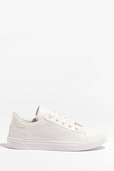 White Faux Leather Perforated Lace Up Sneakers