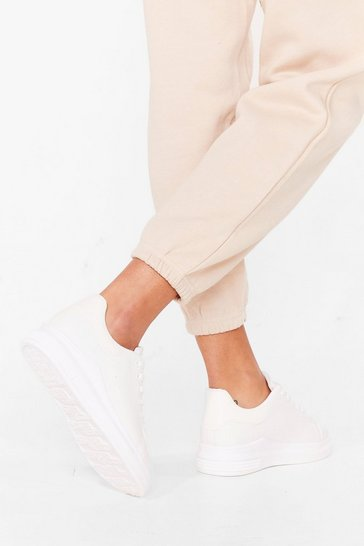 White Platform Your Opinion Lace-Up Sneakers