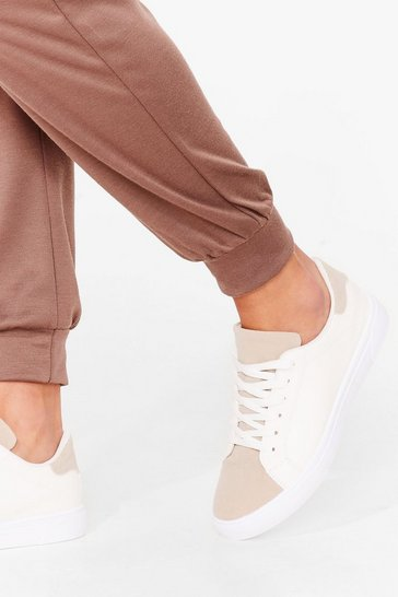 White Faux Suede the Difference Panel Sneakers