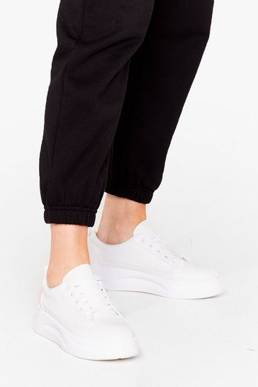 White Up and At 'Em Chunky Platform Sneakers