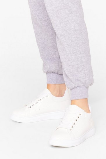 White Let's Take a Walk Faux Leather Sneakers