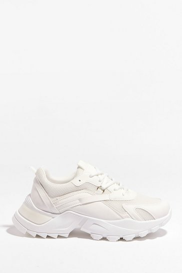 White Running It By You Chunky Sneakers