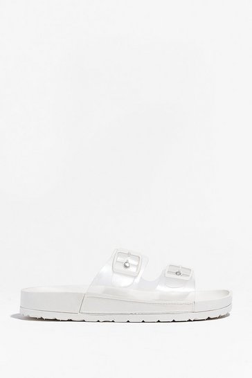 White Clear the Way Double Strap Sliders