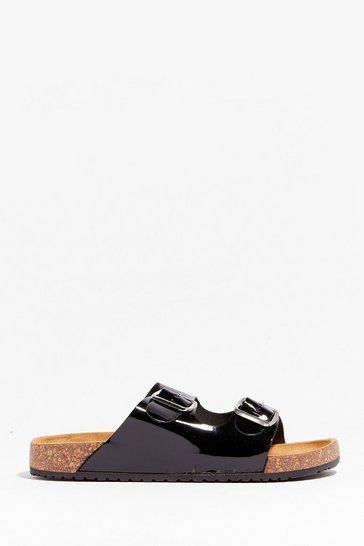 Black You're in Buckle Patent Faux Leather Sandals