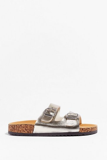 Gold You're in Buckle Metallic Faux Leather Sandals