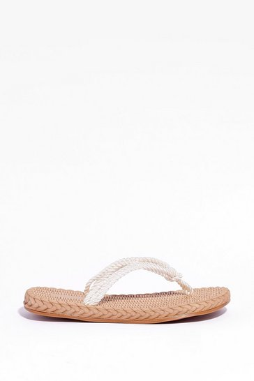 White Moving in Slow Woven Rope Sandals