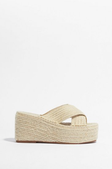 Natural Straw Attention Woven Platform Sandals