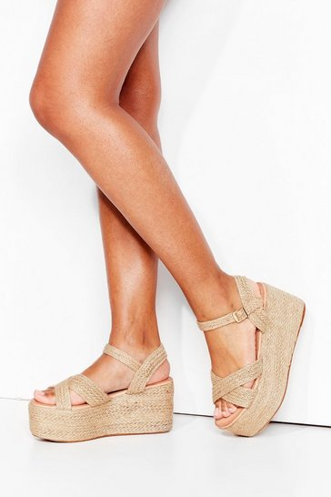 Natural Straw It Here First Platform Woven Sandals