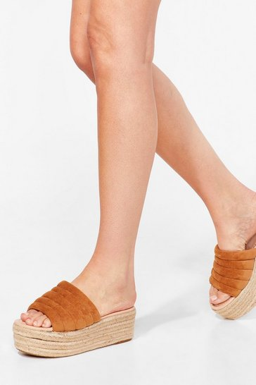 Tan Build You Up Faux Suede Woven Sandals