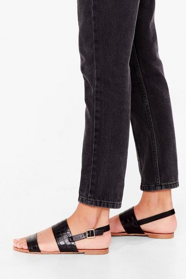 Black The Final Strap Flat Sandals