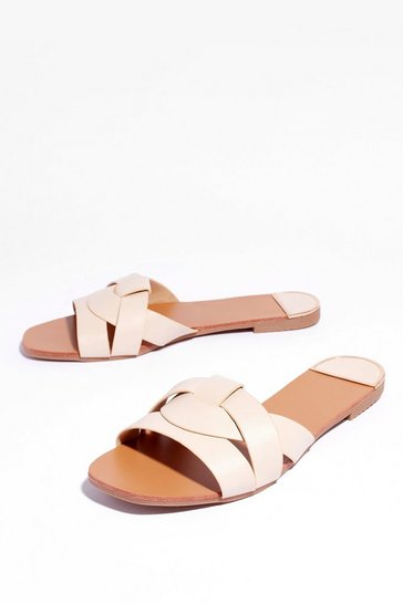 Beige The Woven Ones Faux Leather Flat Sandals
