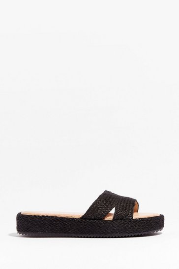 Black Walk With You Woven Platform Sandals