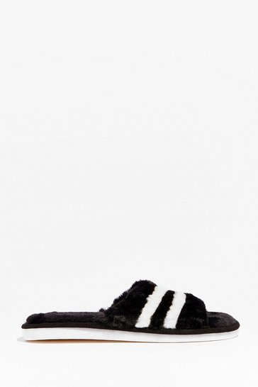 Our Stripe of Night Faux Fur Slippers, Black