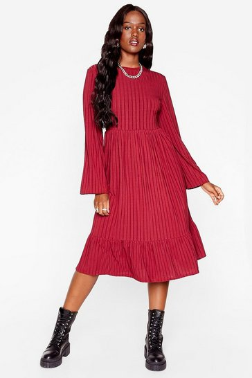 Burgundy That's My Stripe Plus Relaxed Midi Dress