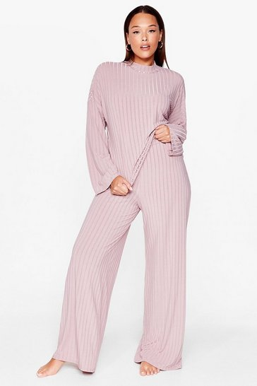 Blush Chill Out Plus Wide-Leg Pants Set