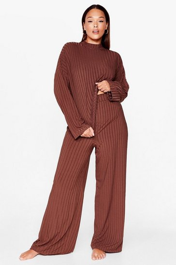 Chocolate Chill Out Plus Wide-Leg Pants Set