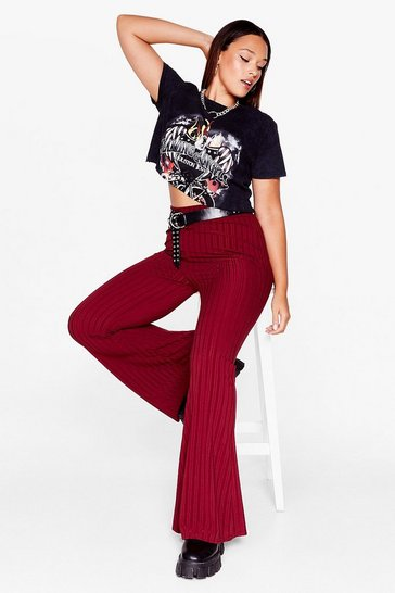 Burgundy Flare Your Thoughts Plus Ribbed Pants