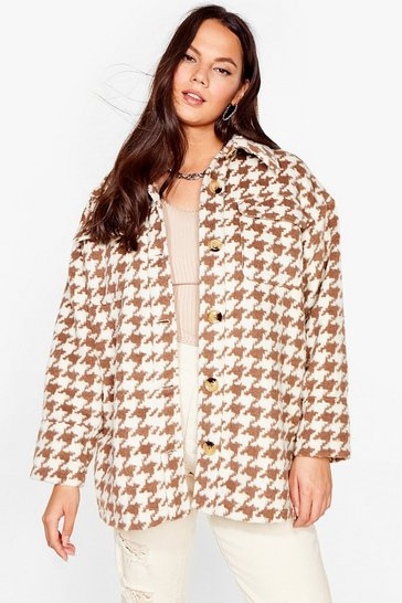 Brown We've Houndstooth Our Way Plus Relaxed Jacket