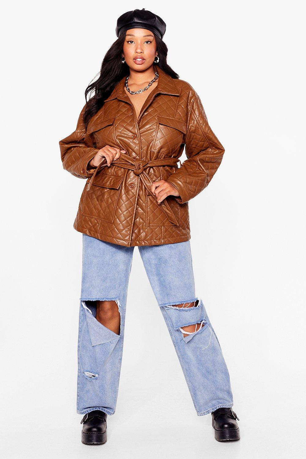 Callin' It Quilts Plus Faux Leather Belted Jacket 4