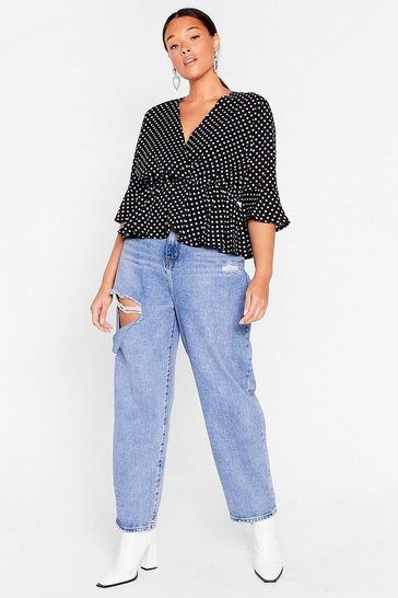Black We've Polka Dot Plans Plus Wrap Blouse