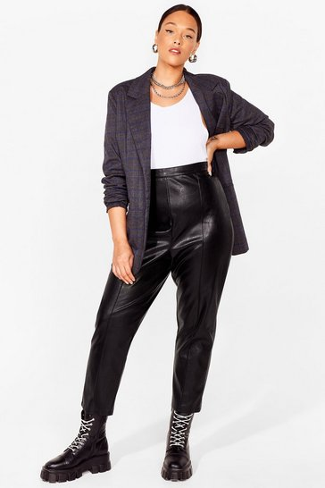 Black Plus Size Faux Leather Tapered Pants