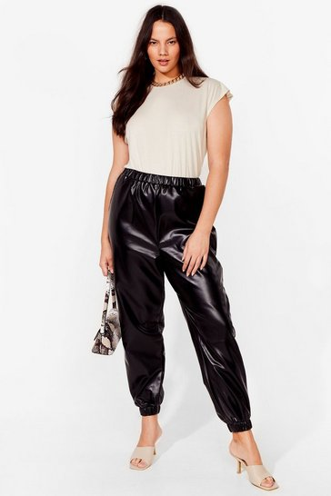 Black Plus Size Faux Leather Sweatpants