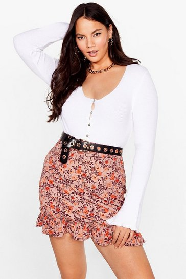 Brown Looks Bud on You Floral Mini Skirt