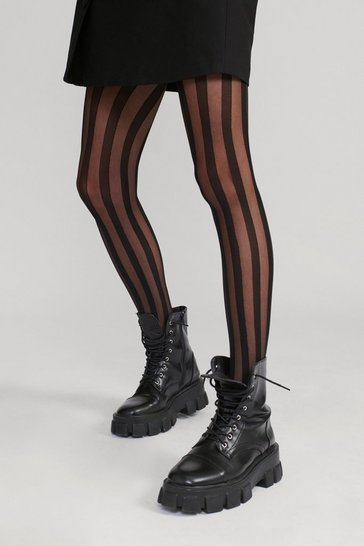 Black Sheer Genius High-Waisted Striped Tights