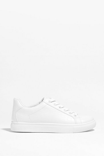 White Faux Leather Croc Lace Up Sneakers