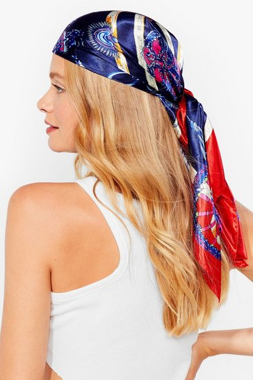 Navy You Won't Chain-ge Our Mind Satin Headscarf