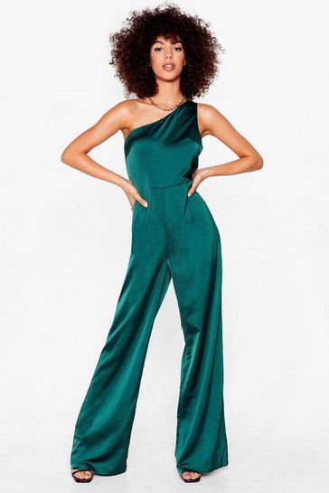 Taking Flare Of Business One Shoulder Jumpsuit, Green