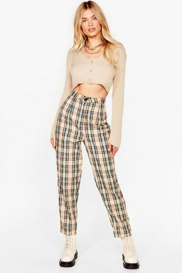 Beige Checking Out High-Waisted Pants