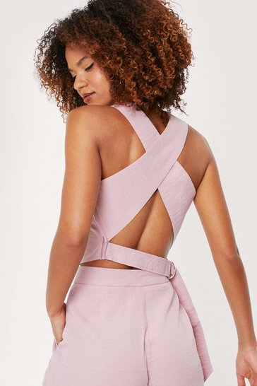 Dusky pink Tailored Crossover Crew Neck Crop Top