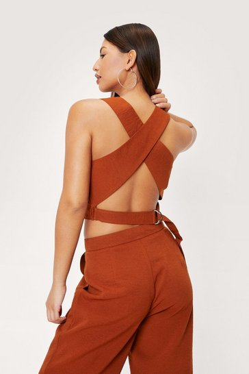 Rust High Neck Crossover Strap Crop Top