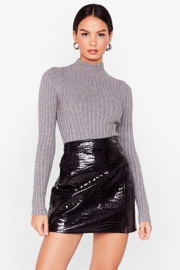 Charcoal I Want Knit All Ribbed Turtleneck Jumper
