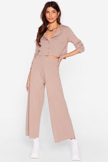 Taupe Knit the Lights Cardigan and Wide-Leg Pants Set