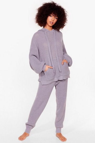 Grey marl Knits Just Us Two Ribbed Hoodie and Jogger Set