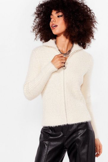 Cream Zip's a Fact Knitted High Neck Sweater