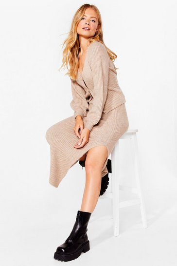 Taupe Get Together Knitted Cardigan and Midi Skirt Set