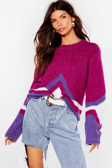 Wine Tell Knit to My Face Fluffy Relaxed Sweater