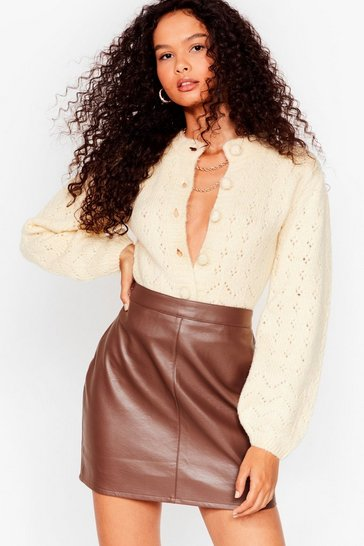 Cream If You Want Knit Pointelle Cropped Cardigan