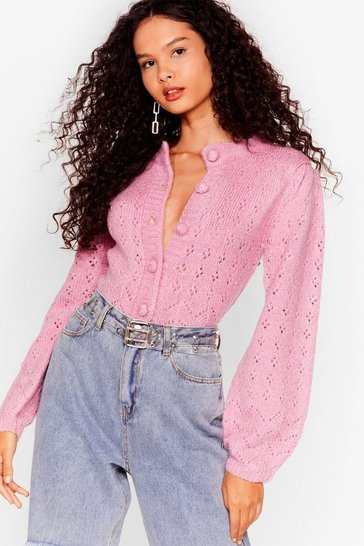 Pink If You Want Knit Pointelle Cropped Cardigan