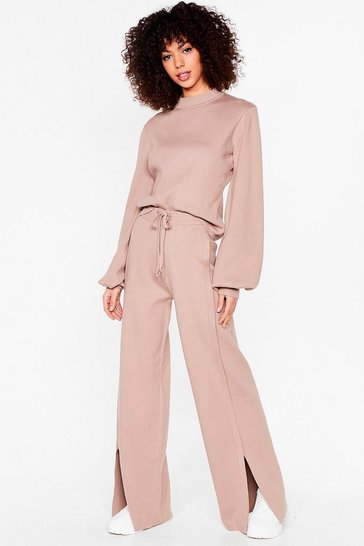 Taupe Slit's About Time Sweater and Wide-Leg Pants Set