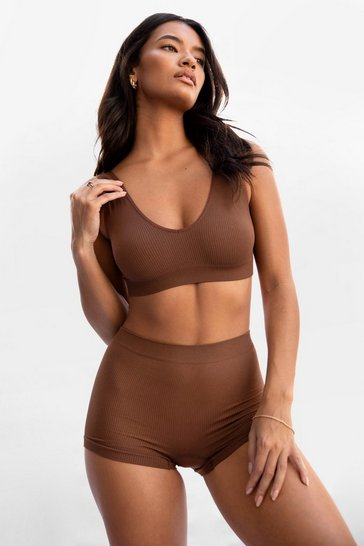 Chestnut Seamless is More Ribbed Scoop Bralette