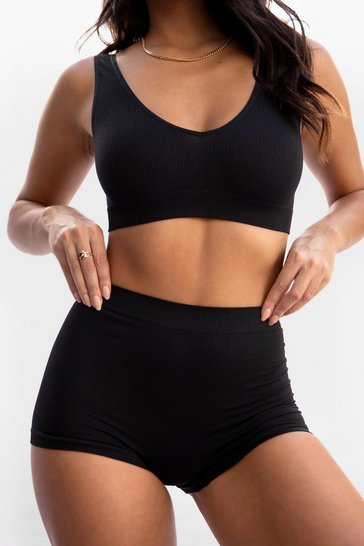 Black Seamless Ribbed Boxer Shorts