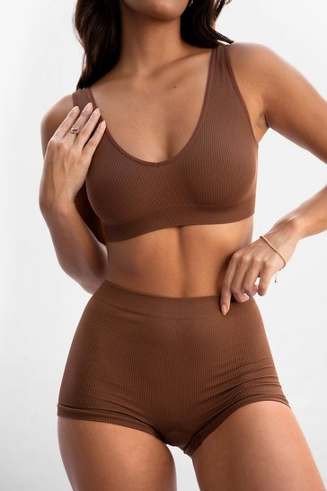 Chestnut Seamless is More Ribbed Panty