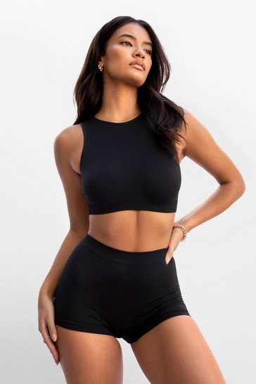 Black Simple as That Seamless Cropped Bralette