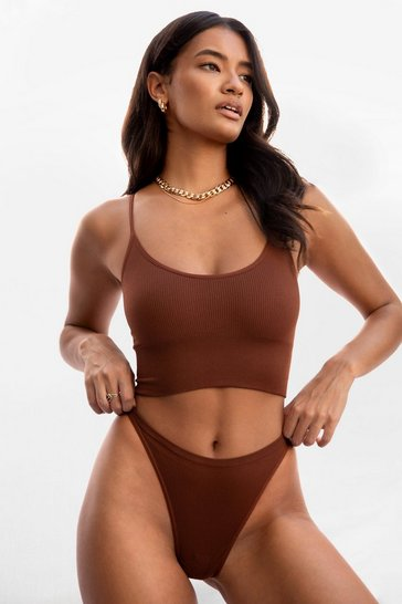 Brown Nothing More or Nothing Seamless Longline Bralette